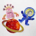 Painted and decorated punched-out Space Shapes & Figures