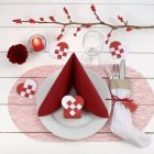 Decorating a red and white Christmas Table