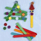 Christmas Shapes assembled from coloured wooden Ice Lolly Sticks