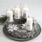 A silver Advent Wreath