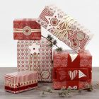 Red and white Gift Wrapping with Stickers and Ribbon
