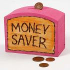A wooden Money Box with branded and coloured-in Design and Text