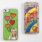 A Mobile Phone Case decorated with Drawings and Rhinestones