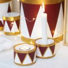 Terracotta Drum Candle Holders painted with Craft Paint and Plus Color Markers