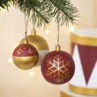 Wooden Christmas Baubles decorated with Craft Paint and Plus Color Markers