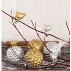 Glass Baubles and Glass Birds decorated with Glas Color Ceramic Paint and Down