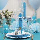 Light blue Table Decorations with Paper Flowers, Balloons, a Napkin folded like a Tower and Place Cards