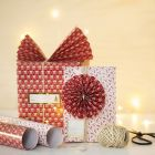 Christmas Gift Wrapping with a Paper Fan and a Paper Rosette