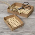 Make trays from faux leather paper decorated with rattan