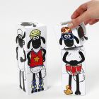 Shaun the Sheep stacking blocks decorated with markers