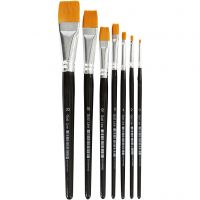 Gold Line Brushes, flat, no. 0+2+4+8+12+16+20, W: 2+3+5+9+12+17+24 mm, 7 pc/ 1 pack