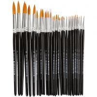 Gold Line Brushes, round, no. 0+1+2+4+8+12+18+22, W: 1,5-8 mm, 36 pc/ 1 pack