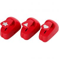 Paper Punches, star, heart, christmas tree, size 16 mm, red, 1 set