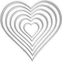 Die Cut and Embossing Folder, heart, size 2,5x3-10x11 cm, 1 pc