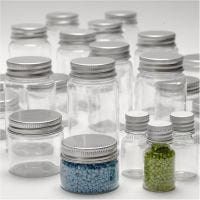 Plastic Jar with Screw-on Lid, H: 35-77 mm, D: 24-45 mm, 13+35+50+100 ml, 80 pc/ 1 pack