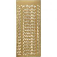 Stickers, guldbryllup, 10x23 cm, gold, 1 sheet