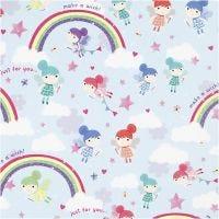 Gift wrap, Fairies with rainbow, W: 57 cm, 80 g, 150 m/ 1 roll
