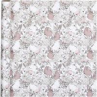 Gift wrap, flowers, W: 70 cm, 80 g, beige, brown, rose, white, 4 m/ 1 roll