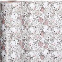Gift wrap, flowers, W: 57 cm, 80 g, beige, brown, rose, white, 150 m/ 1 roll