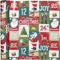 Gift wrap, English Christmas, W: 70 cm, 80 g, 4 m/ 1 roll