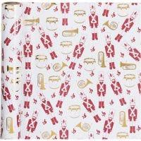 Gift wrap, Nutcracker, W: 70 cm, 80 g, gold, red, white, 2 m/ 1 roll