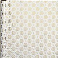 Gift wrap, tiles, W: 50 cm, 80 g, gold, white, 3 m/ 1 roll