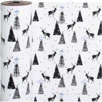 Gift wrap, stag, W: 50 cm, 80 g, black, silver, white, 100 m/ 1 roll