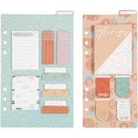 Post-it assortment and book marks, size 10,3x22 + 13,8x22 cm, gold, red, coral, 2 sheet/ 1 pack