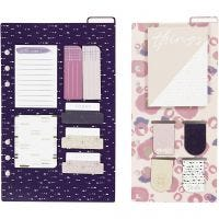 Post-it assortment and book marks, size 10,3x22 + 13,8x22 cm, gold, purple, rose, 2 sheet/ 1 pack
