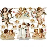 Vintage Die-Cuts, large angels, 16,5x23,5 cm, 3 sheet/ 1 pack