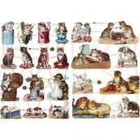 Vintage Die-Cuts, cats, 16,5x23,5 cm, 2 sheet/ 1 pack
