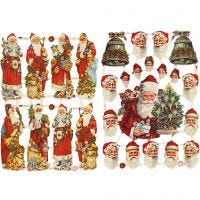 Vintage Die-Cuts, Santa Claus with gifts, 16,5x23,5 cm, 2 sheet/ 1 pack
