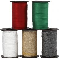 Curling Ribbon, W: 10 mm, glitter, assorted colours, 5x100 m/ 1 pack