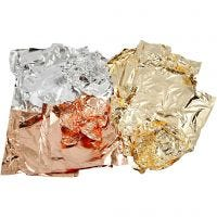Imitation Metal Leaf, 16x16 cm, copper, gold, silver, 3x50 sheet/ 1 pack