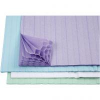 Honeycomb paper, 28x17,8 cm, light blue, green, purple, white, 4x2 sheet/ 1 pack