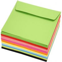 Coloured Envelopes, envelope size 16x16 cm, 80 g, assorted colours, 10x10 pc/ 1 pack