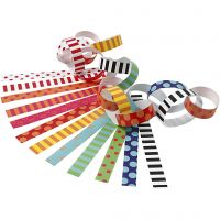Paper Chains, Pattern, L: 16 cm, W: 15 mm, 400 pc/ 1 pack