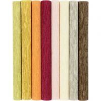 Crepe Paper, 25x60 cm, Crêpe ratio: 180%, 105 g, mute colours, 8 sheet/ 1 pack