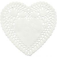 Doilies, heart-shaped, D: 10 cm, 30 pc/ 1 pack