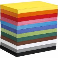 Coloured Card, A4, 210x297 mm, 180 g, assorted colours, 1200 ass sheets/ 1 pack
