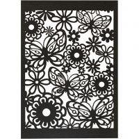 Lace Patterned cardboard, 10,5x15 cm, 200 g, black, 10 pc/ 1 pack