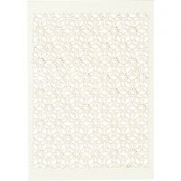 Lace Patterned cardboard, 10,5x15 cm, 200 g, off-white, 10 pc/ 1 pack