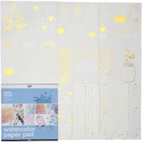 Watercolor Paper Pad with Printed Designs, size 30,5x30,5 cm, white, 12 sheet/ 1 pc
