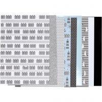 Design Paper pad, size 21x30 cm, 120+128 g, black, blue, grey, white, 24 sheet/ 1 pack