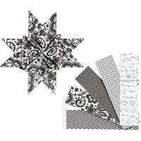 Paper Star Strips, L: 100 cm, D: 18 cm, W: 40 mm, black, white, 40 strips/ 1 pack