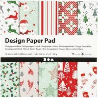 Design Paper Pad, 15,2x15,2 cm, 120 g, green, red, white, 50 sheet/ 1 pack