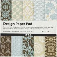 Design Paper Pad, 15,2x15,2 cm, 120 g, light blue, brown, 50 sheet/ 1 pack