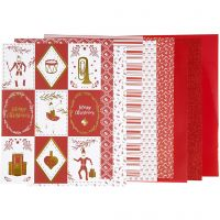 Design Paper pad, size 21x30 cm, 120+128 g, red, white, 24 sheet/ 1 pack