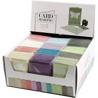 Cards and Envelopes, card size 10,5x15 cm, envelope size 11,5x16,5 cm, 120+210 g, assorted colours, 12x10 pack/ 1 pack