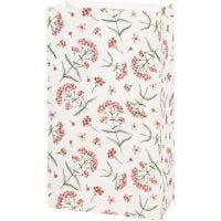 Paper Bag, flowers, H: 21 cm, size 6x12 cm, 80 g, 8 pc/ 1 pack